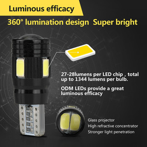 Image 2 - 2x LED Lamps For Cars White T10 5630 6SMD High Power Car Wedge License Plate LED Light Bulbs Width Lamps Reading Panel Lights
