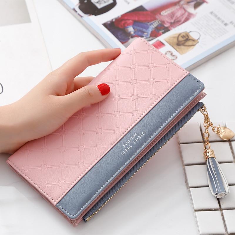 Luxury Leather Wallet Women Card Holder Zipper Phone Pocket Ladies Purse Long Money Bag Tassel Women Wallets Clutch Portfel W264