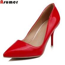 Asumer/новые женские туфли-лодочки модные с острым носком мелкой Красный, черный, белый весна-осень обувь элегантная обувь на высоком каблуке Большие размеры 32-47