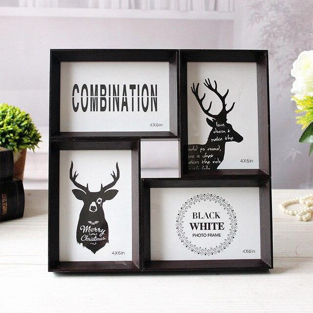 vintage multi frame photo frames wood picture frame wedding desk photo frame home decor craft - Multi Picture Photo Frames