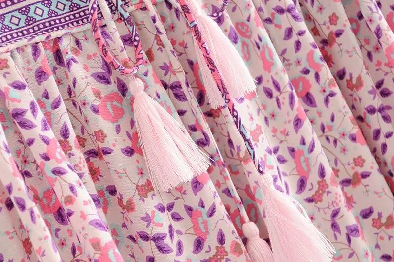 Image 4 - Женское платье с длинным рукавом, винтажное мини платье с длинным рукавом и цветочным принтомПлатья   -