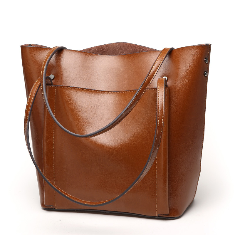 ФОТО Simplicity genuine leather women's shoulder bag with front pocket cowhide office lady's commute handbag elegant fashion tote