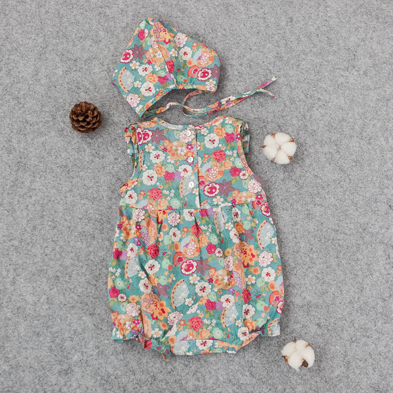 Babys Summer Floral Rompers With Cap Sweet Toddle Ruffles Rompers Casual Clothes Free Shipping