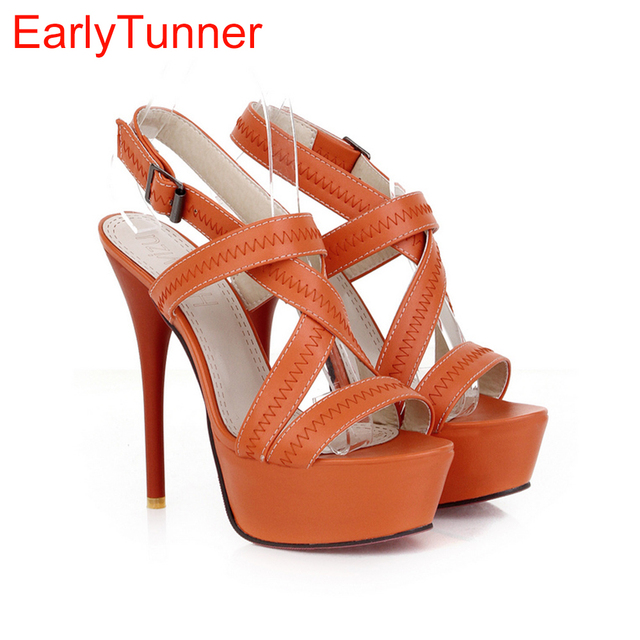 151b7f9b121 Brand New Sexy Orange Beige Apricot Women Glamour Platform Sandals Super High  Heels Pumps Ladies Shoes AH-8 Plus Big size 10 43