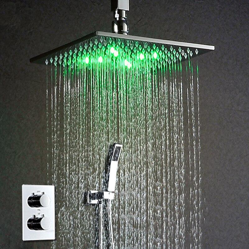 LED, cuadrada, ultrafina, 50,8 cm, 3 colores cambiantes, acero inoxidable pulido acabado cromado Onyzpily Alcachofa de ducha