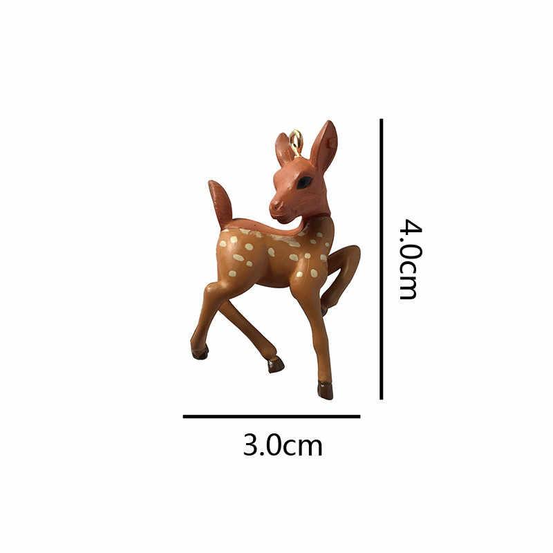2 יח'\חבילה Kawaii סיקה צבי סימולציה בעלי החיים קסמי תליוני אמייל ממצאי Diy שרשרת נשים עגילי תכשיטי להפוך C261