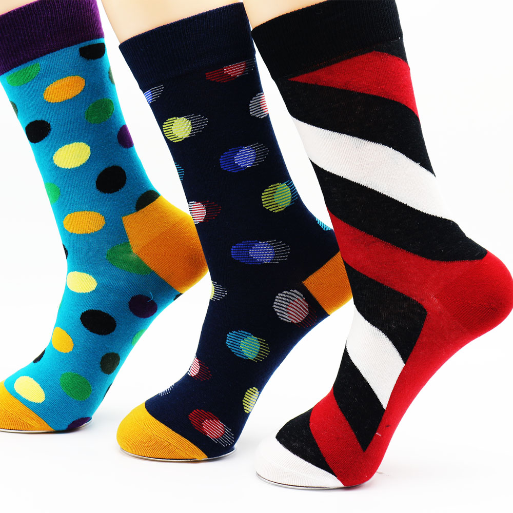 New mens combed cotton new mens socks colorful dress socks wedding socks business socks (3 pairs)