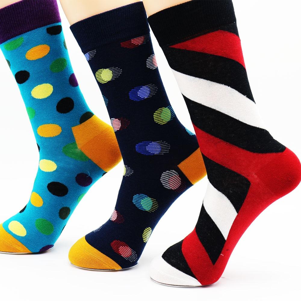 New mens combed cotton new mens socks colorful dress socks wedding socks business socks (3 pairs)