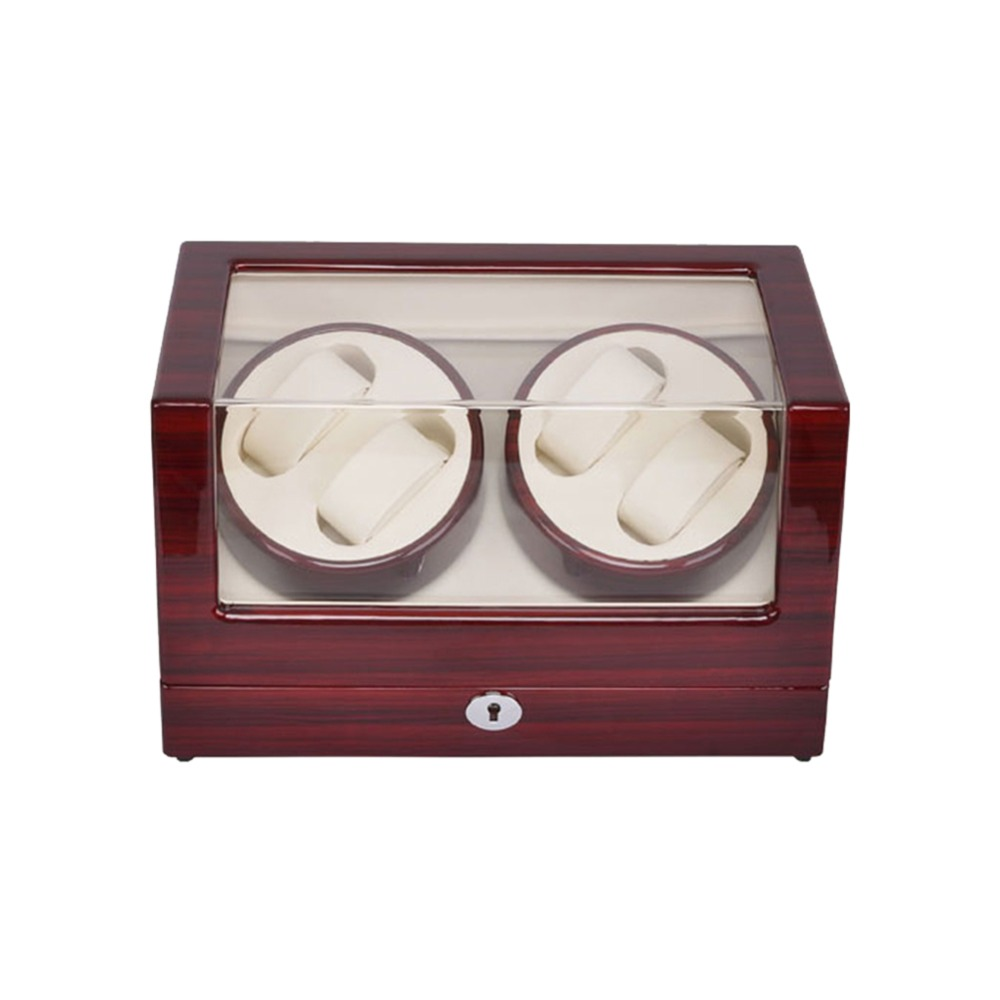Watch Winder ,LT Wooden Automatic Rotation 4+0 Watch Winder Storage Case Display Box (rose red-white) 2016 latest luxury 5 modes german motor watch winder yellow spray paint wooden white pu leater inside automatic watch winder