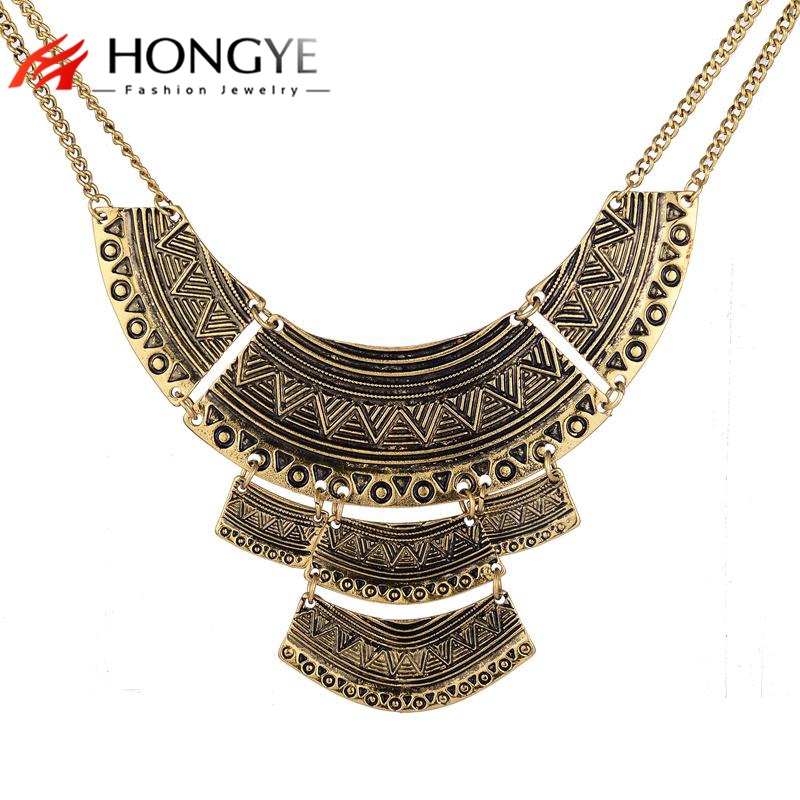 Collier Ethnique 2018 Fashion Necklace Ethnic Colar Vintage zilveren kleur Double Chain Statement ketting voor dames Heren