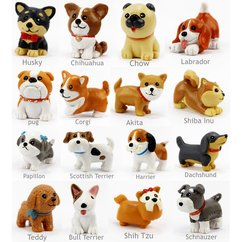 animal:  16 Pcs/Set Kawaii resin miniature Puppy mini cartoon Dogs figurines Animal ornaments table decoration Home decor Garden ornament - Martin's & Co