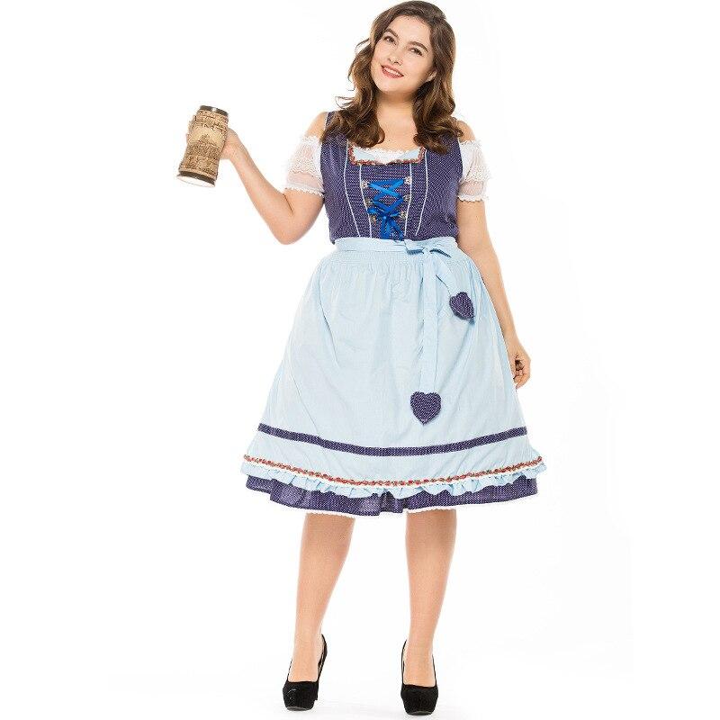 2018 Grand et Plus Taille Allemand Miss Oktoberfest Cosplay Costume pour les Femmes Adultes Carnaval Pourim Robe Costume pour Halloween party