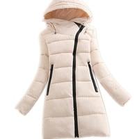 2017 Fashion Oblique Zipper Winter Women Down Cotton Jacket Parka Female Hooded Medium Long Slim Thicken