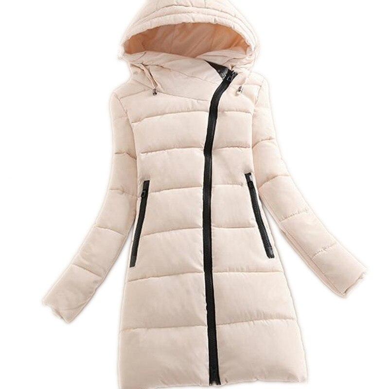 2018 Fashion Oblique Zipper Winter Women Down Cotton Jacket Parka Female Hooded Medium Long Slim Thicken