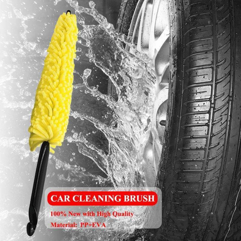 Car Wheel Brush Plastic Handle Vehicle Cleaning Brush Wheel Rims Tire Washing Brush Auto Scrub Brush Car Wash Sponges Tools