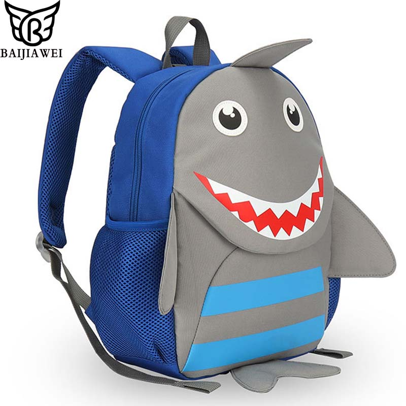 BAIJIAWEI Kindergarten Backpack Anti-lost School Bags Cartoon Shark Children Backpack Cute Animal Design Bags Kids Shoulder Bag Рюкзак