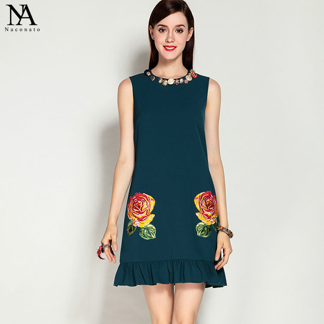 New Arrival 2017 Summer Women's O Neck Sleeveless Ruffles Embroidery Buttons Detaling Elegant Short Runway Dresses