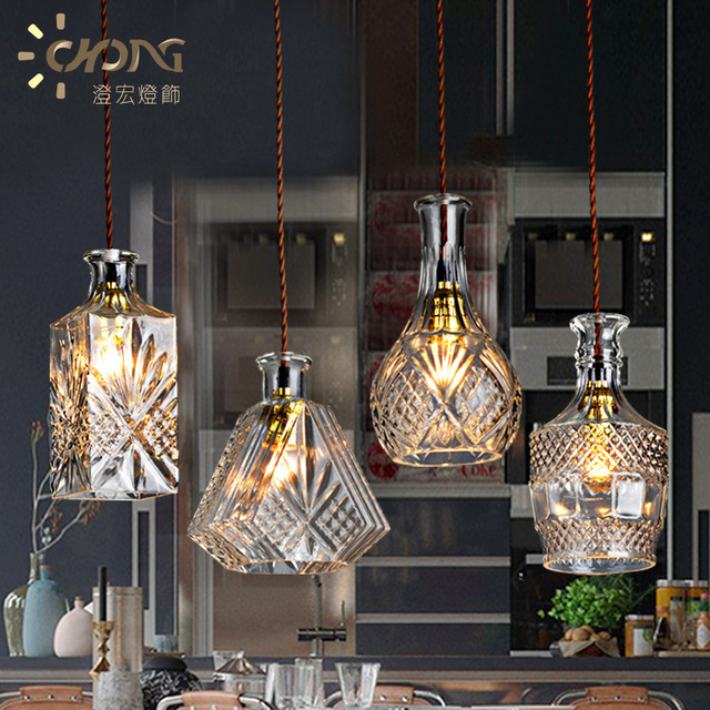 Crystal Gl Pendant Lights Creative Dining Room Of The Bar Table Coffee Simple Personality Bottle