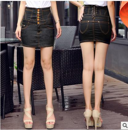 Jinsen Aite плюс размер S-4XL Высокая талия новые летние женские джинсовые юбки-карандаш обтягивающее по бедрам сексуальное узкие джинсы юбка винтажная юбка JS381 - Цвет: Черный