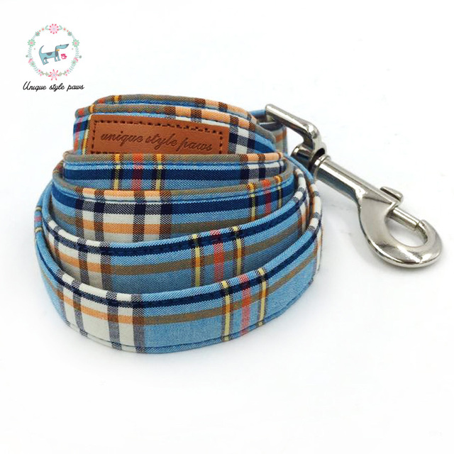 Fashion Plaid Collar and Leash set with Bow Tie 2