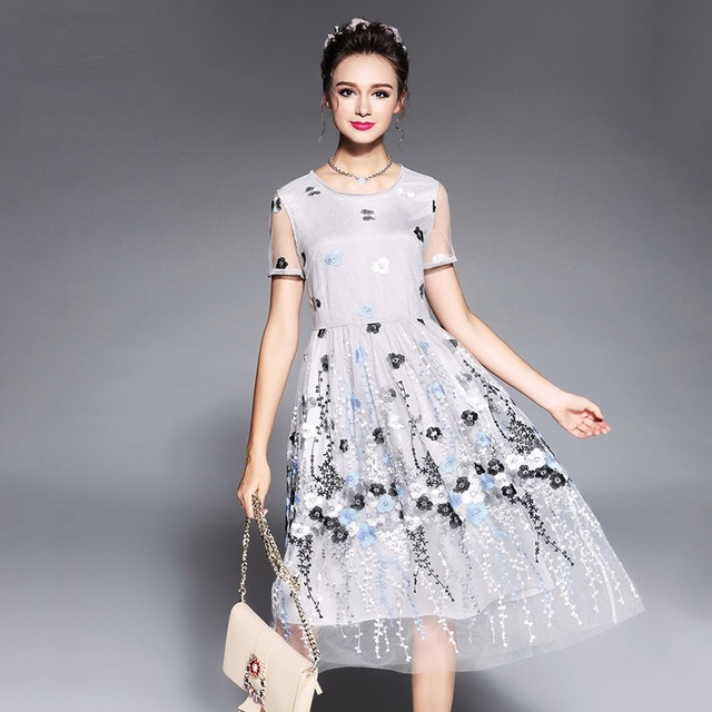 2017Summer Ladies beautiful ball gown dress pinched waist embroidery ...