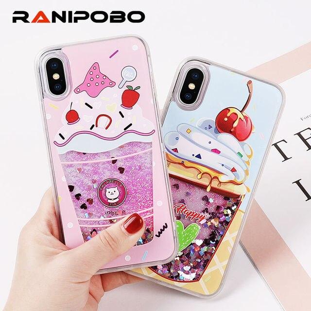 Funda de teléfono líquida dinámica con purpurina para iPhone 6X6 S 7 8 Plus cubierta trasera de TPU piña cereza