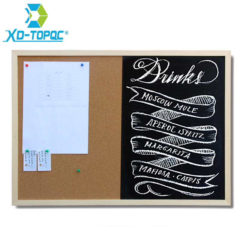 Wooden 30*40cm Combination Blackboard Cork Board 1:1 Chalkboard Wooden Frame Black Board With Accessories Free Shipping