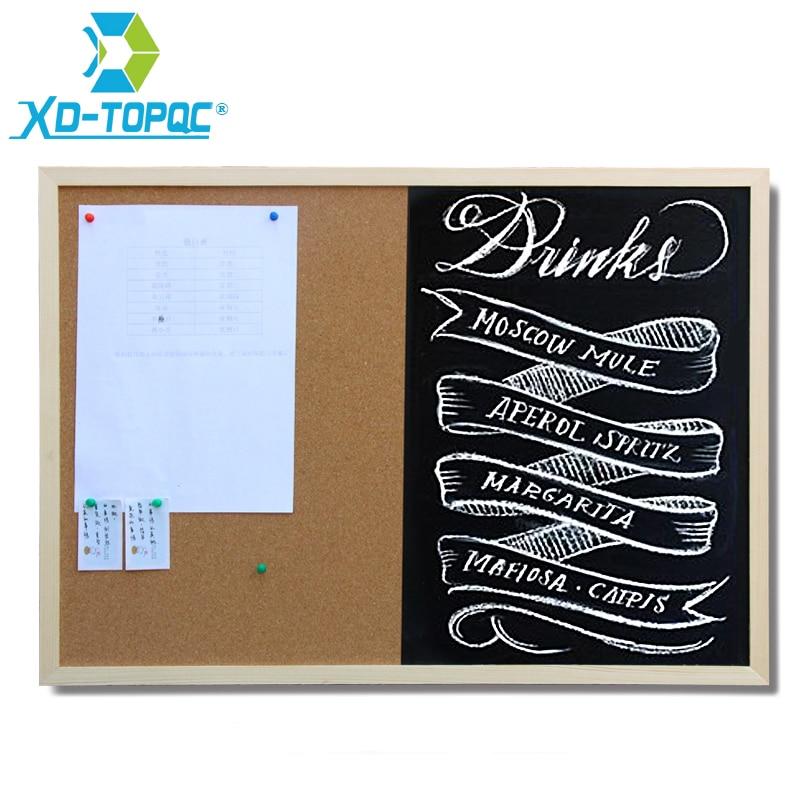 Wooden 30*40cm Combination Blackboard Cork Board 1:1 Chalkboard Wooden Frame Black Board With Accessories Free Shipping