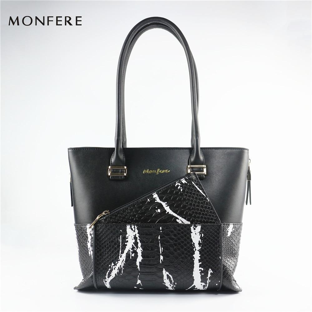MONFERE moda PU bolsas de mano para las mujeres 2017 con pequeña moneda bolsa de