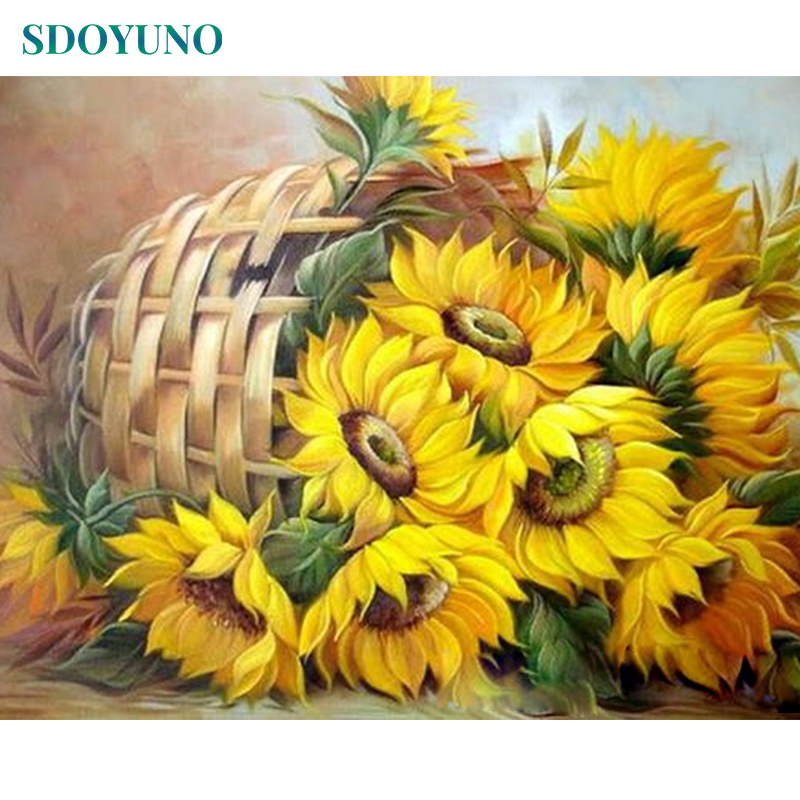 SDOYUNO Frame DIY Painting By Numbers Kits Sunflowers Abstract Modern Home Wall Art Picture Flowers Paint