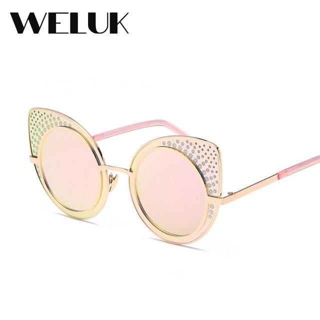 45528c664fd5 WELUK Hot Summer Sexy Cat Eye Lady Pink Diamond Decoration Glasses Female  Retro Coating Reflective Sunglasses Girls Fashion Wear