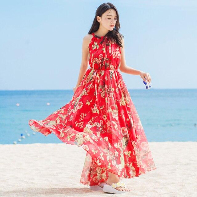 4889d81e8ede525 Летняя Новинка 2017 г. шифоновое платье женские богемные длинные платья  макси без рукавов платье Повседневное