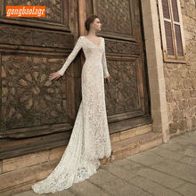 Elegant Bohemian  Ivory Wedding Dress 2019 Women Gowns Party gongbaolage Scoop Lace Backless BOHO Rural Bridal Dresses