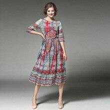 4a53a58e36a9 SimAi otoño nuevo hermoso o-Cuello vestidos de moda para damas temperamento  impreso vestido chiffon slim en línea