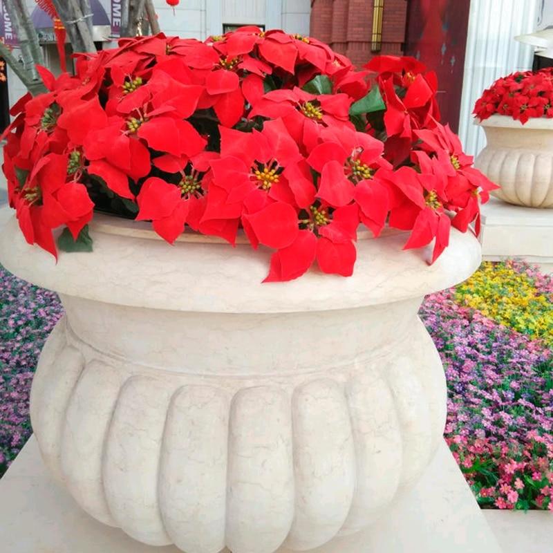 Miniature Dollhouse CHRISTMAS Fairy Garden ~ Red Poinsettia Flowers in Pot ~ NEW