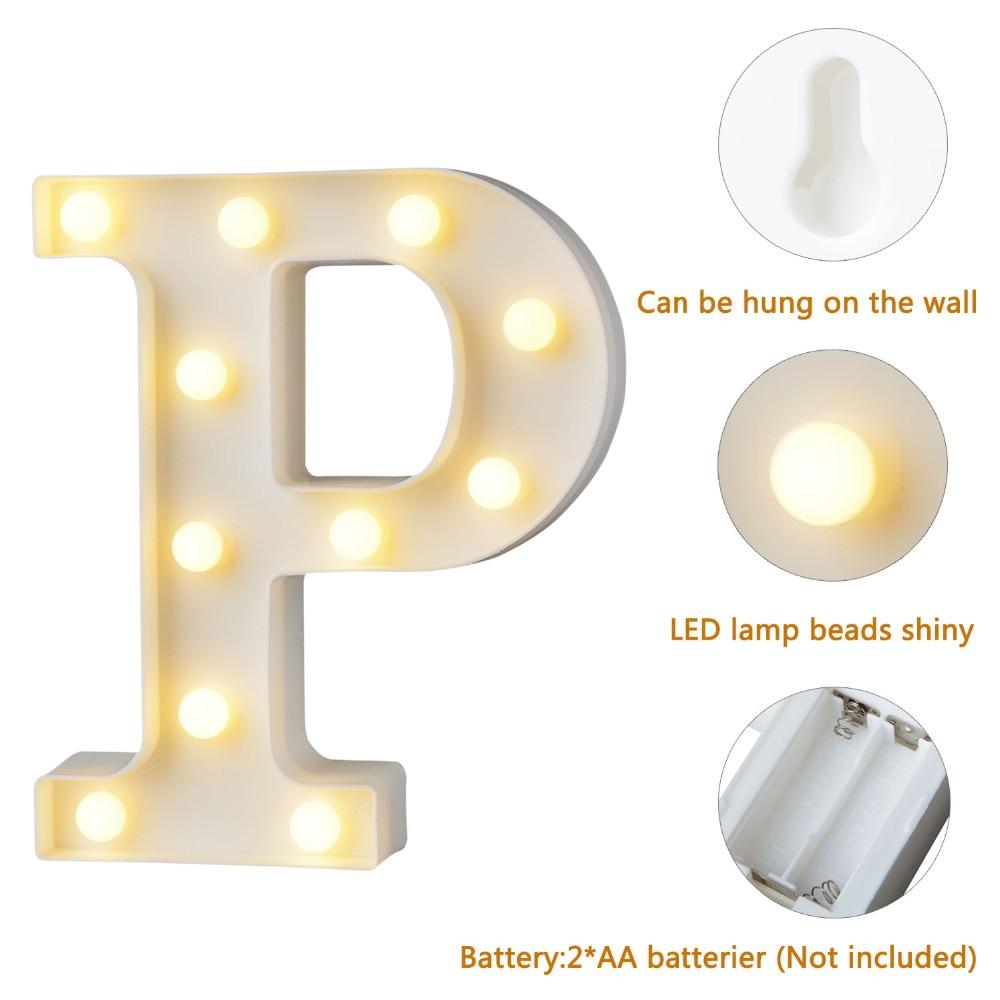 Warm White Alphabets DIY LED Holiday Lighting Letters N-Z Heart Symbol Plastic LED Lights Bedroom Wedding Party Festival Decor