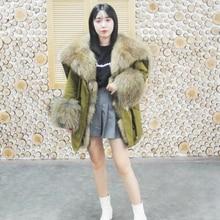 2019 newest style fur coat parkas winter jacket women parka big real raccoon collar natural fox liner outerwear