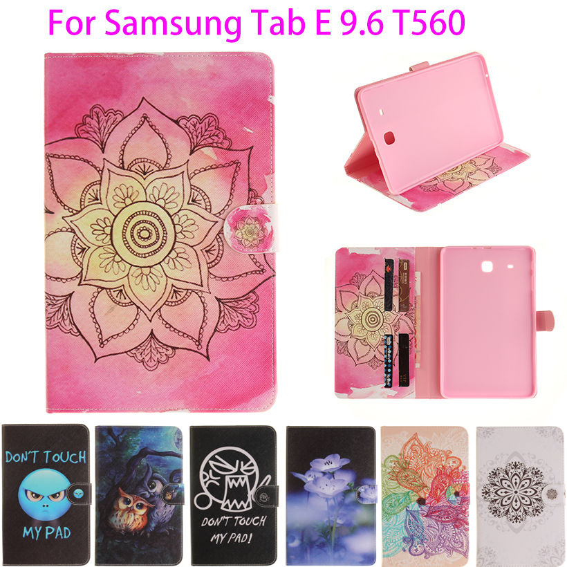 Moda dipinta Flip PU Leather per Samsung Galaxy Tab E 9.6 Custodia - Accessori per tablet