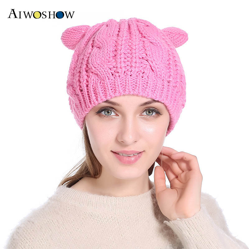 2017 Fashion Autumn Winter Women Beanies Hat With Cute Cat Ears Pink Knitted Hat For Girl Cat Ears Hat Wool Female Skullies Cap [angelbola] 2017 korean fashion autumn and winter new cat knitting children cap wool hat knitted printing hat c 075