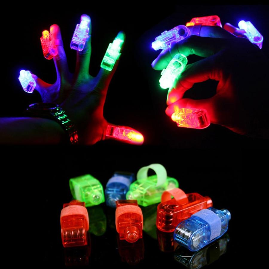 100 Pcs Lot Led Finger Lights Glowing Dazzle Colour