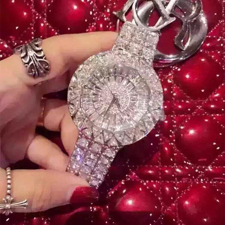 2018  Big Dial Top Quality Women Watches Luxury Steel Full Rhinestone Wristwatch Lady Crystal Dress Watches Female Quartz Watch