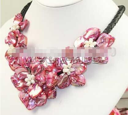XUEYUN 313 + + + + 18 pollici handmade cinque fiore collana di conchiglie di perle red charme