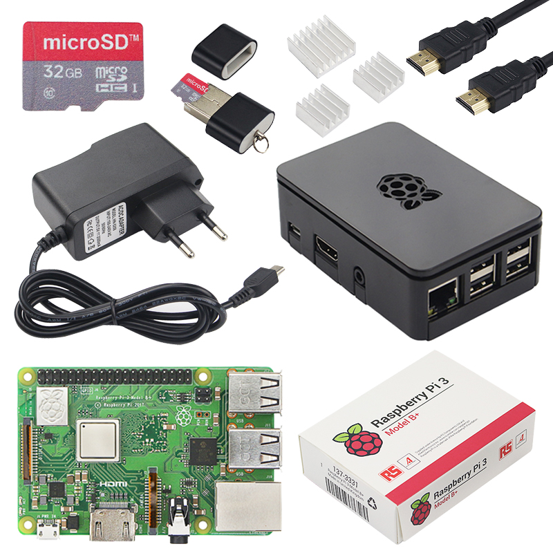 Kit de démarrage Original Raspberry Pi 3 modèle B Plus avec adaptateur d'alimentation et dissipateur de chaleur mieux que Raspberry Pi 3B WiFi et Bluetooth