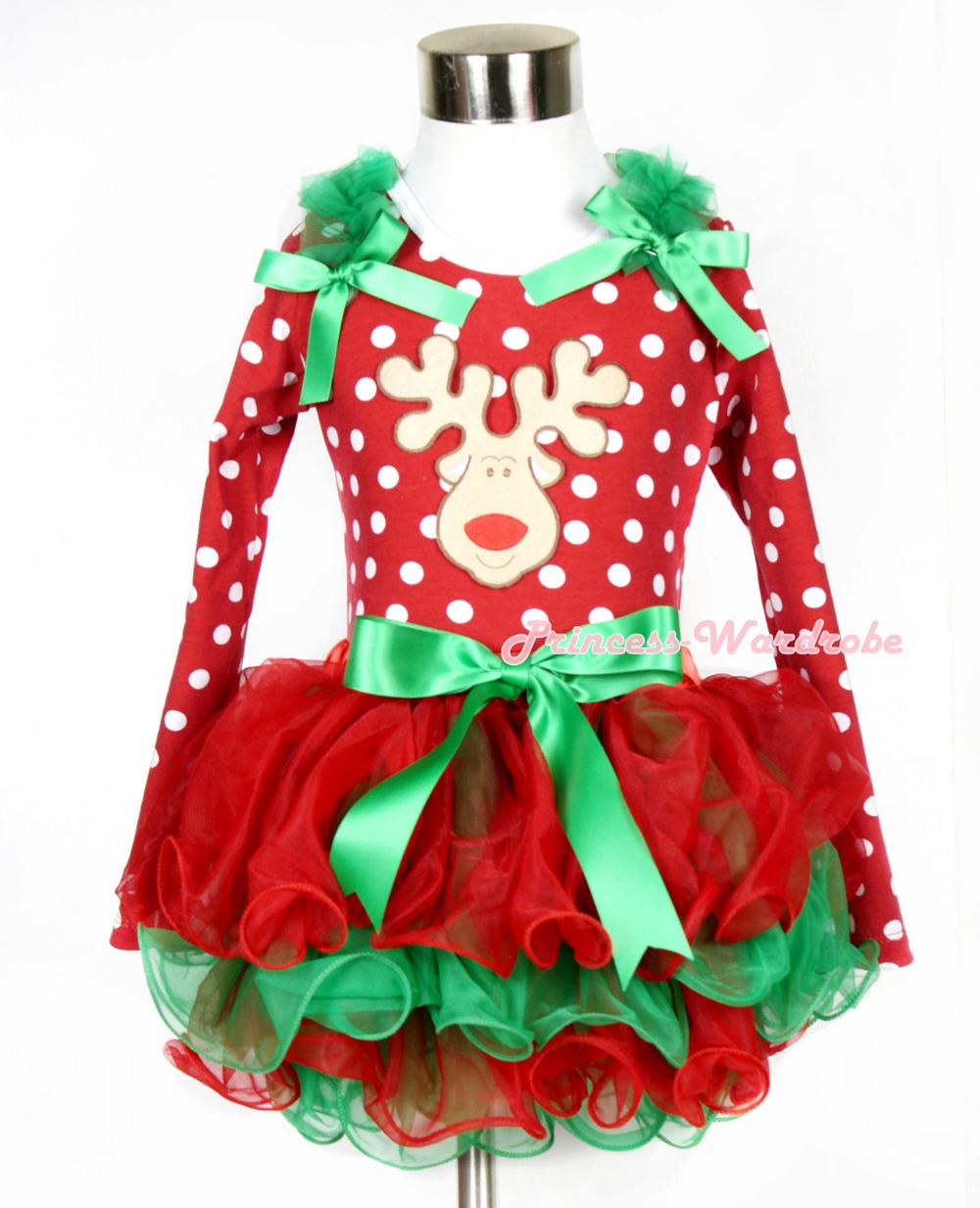 Xmas Kelly Green Bow Red Green Petal Pettiskirt Minnie Dots Long Sleeve Top Kelly Green Ruffles Bow Christmas Reindeer MAMW321 christmas hat reindeer white top minnie dots petal pettiskirt girls outfit nb 8y
