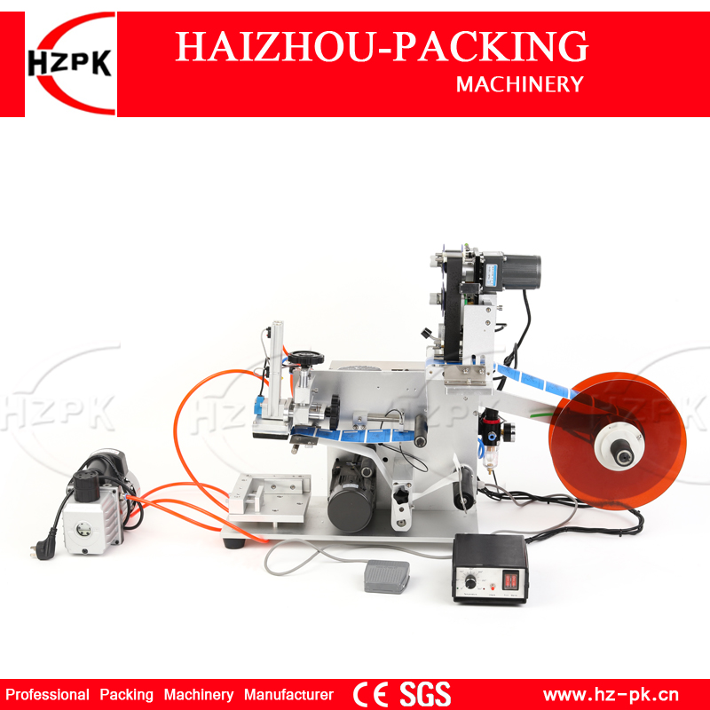 HZPK Semi automatic Flat Labeling Machine With Label Printer For Square Bottle/Flat Product Labeling Coding Date At Once MT 60C