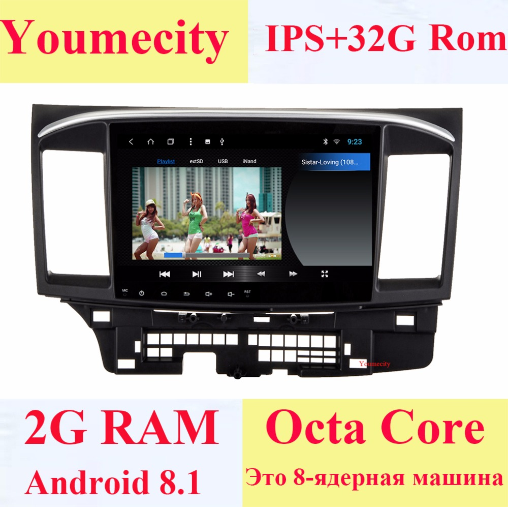 2 Youmecity 10.1 polegada Android 8.1 DIN Car DVD GPS para MITSUBISHI LANCER rádio player de vídeo Tela Capacitiva 1024*600 2008-2015