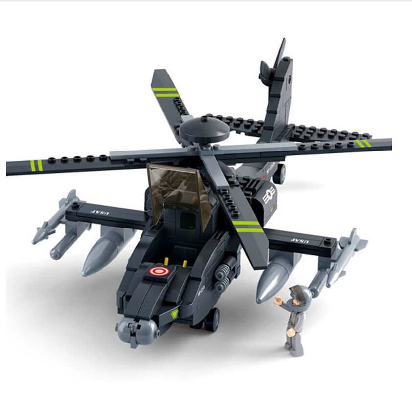 Sluban2014 military Apache AH-64 0511 new products fighter model Building Blocks Set boy children enlightenment educational toys