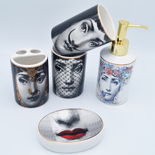 Vintage Fornasetti Bathroom Accessories Set Ceramic Toothbrush Cup Soap Dispenser Travel Holder Shampoo Bottle Home Decor