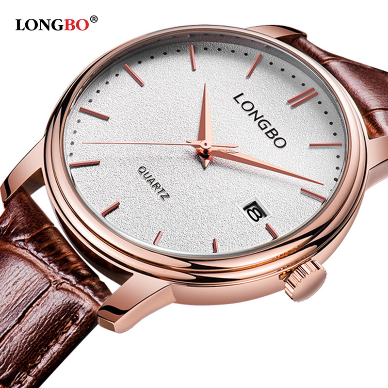 LONGBO Fashion BrandLeather Couples Wristwatches Mens Women Watches Date Calendar Waterproof 5020