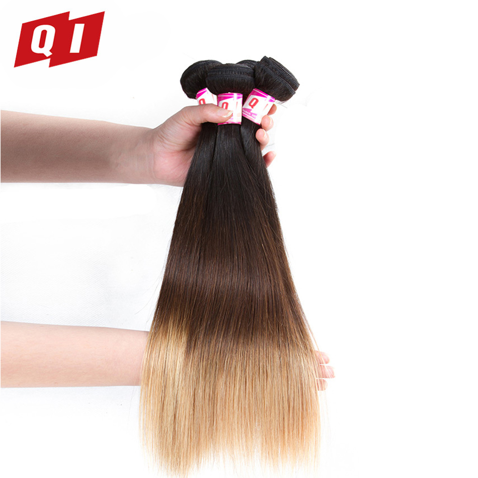 QI Hair 4 Pcs Brazilian Straight Hair Bundles 100 1B 4 27 Human Hair Weave Bundles